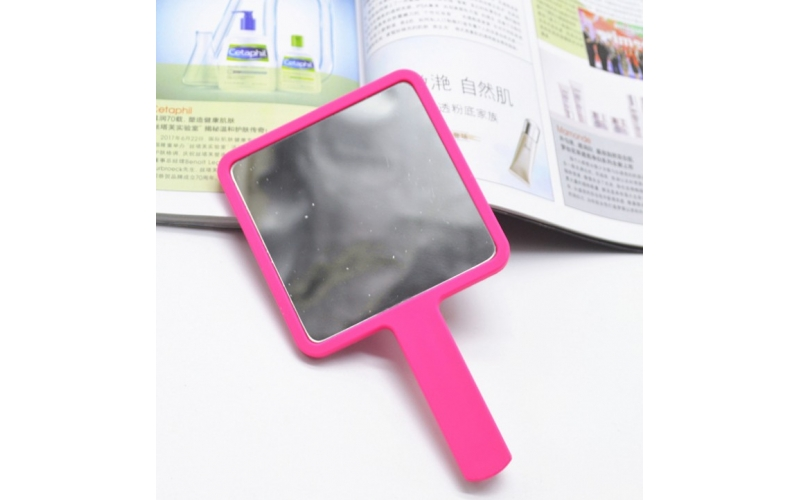 9-15.5cm Stock Color Size Plastic Square Hand Mirror Personalized Custom LOGO UV Printing Cosmetic Makeup Mini Handheld Mirror
